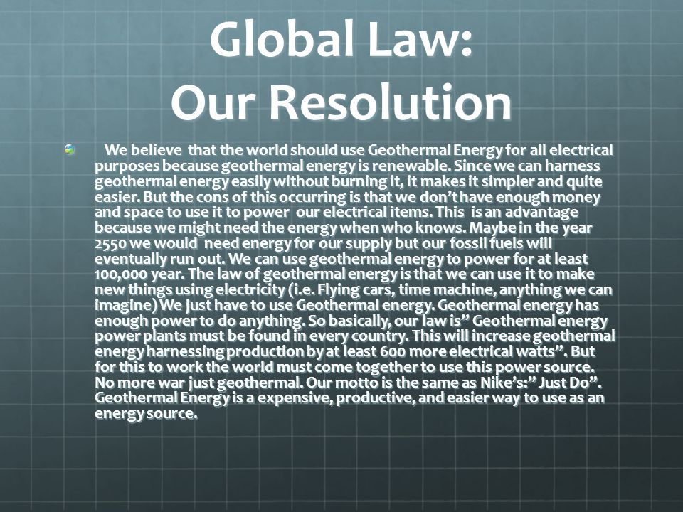 Global Law: Our Resolution
