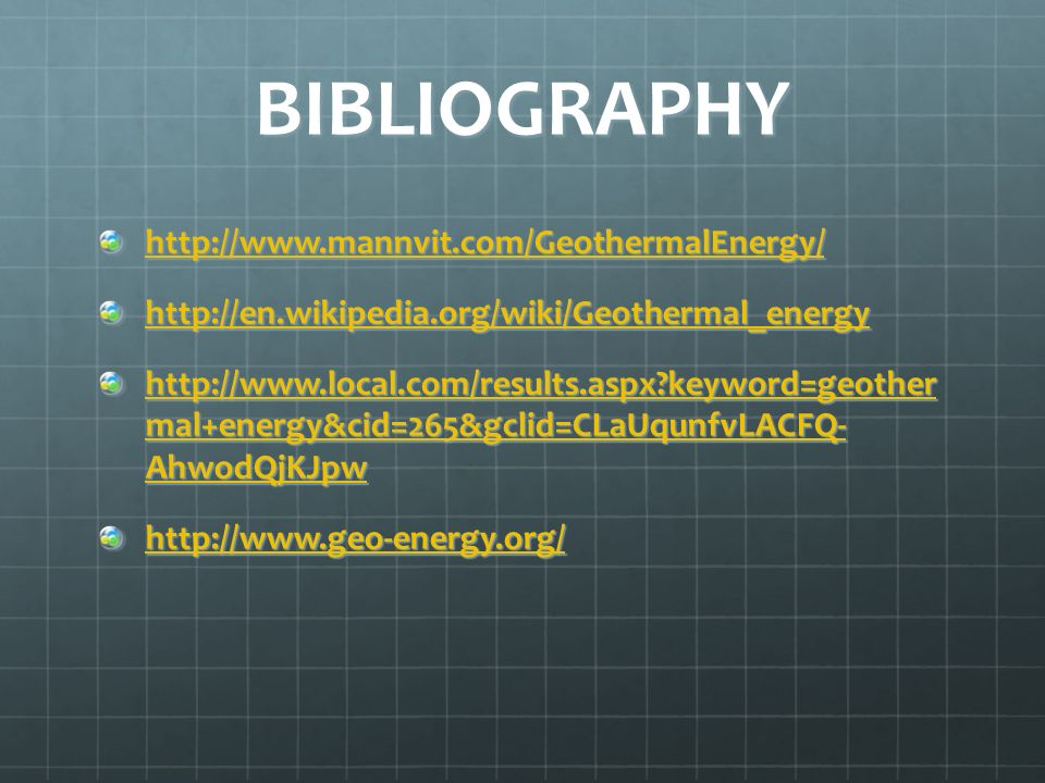 BIBLIOGRAPHY http://www.mannvit.com/GeothermalEnergy/