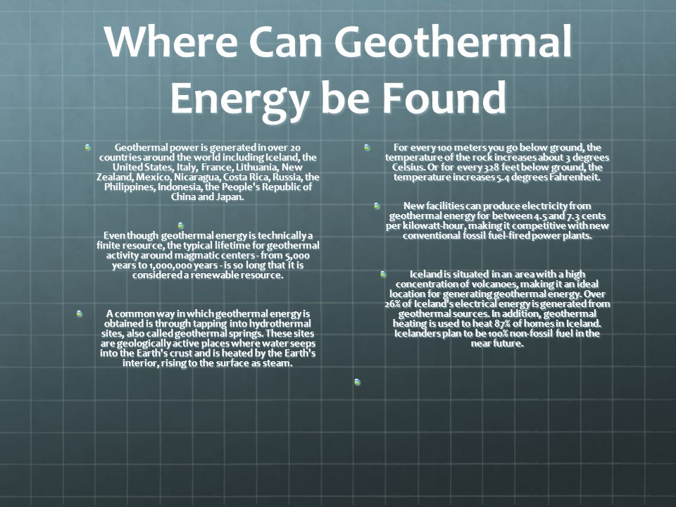Where Can Geothermal Energy be Found