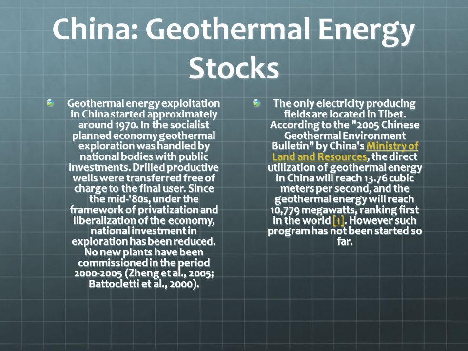 China: Geothermal Energy Stocks