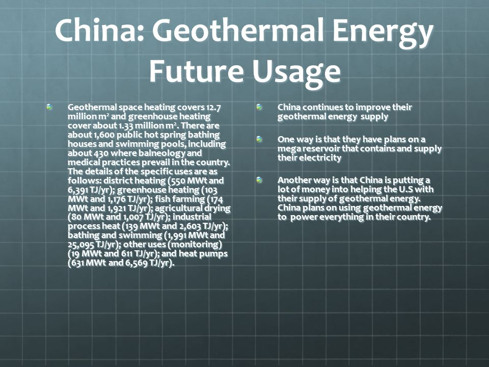 China: Geothermal Energy Future Usage