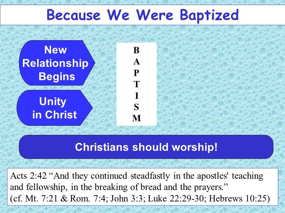 Because We Were Baptized Christians should worship!