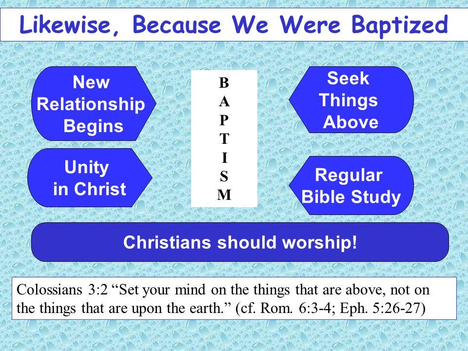 Likewise, Because We Were Baptized Christians should worship!