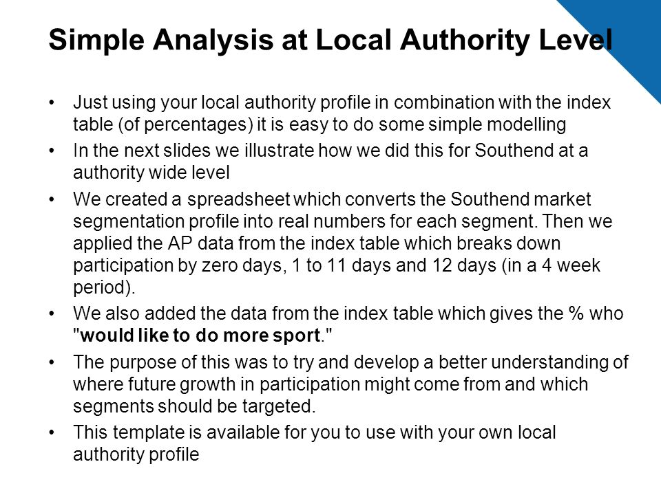 Simple Analysis at Local Authority Level