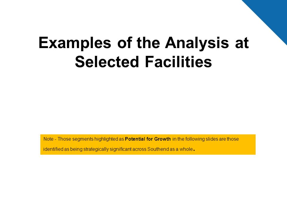 Examples of the Analysis at Selected Facilities