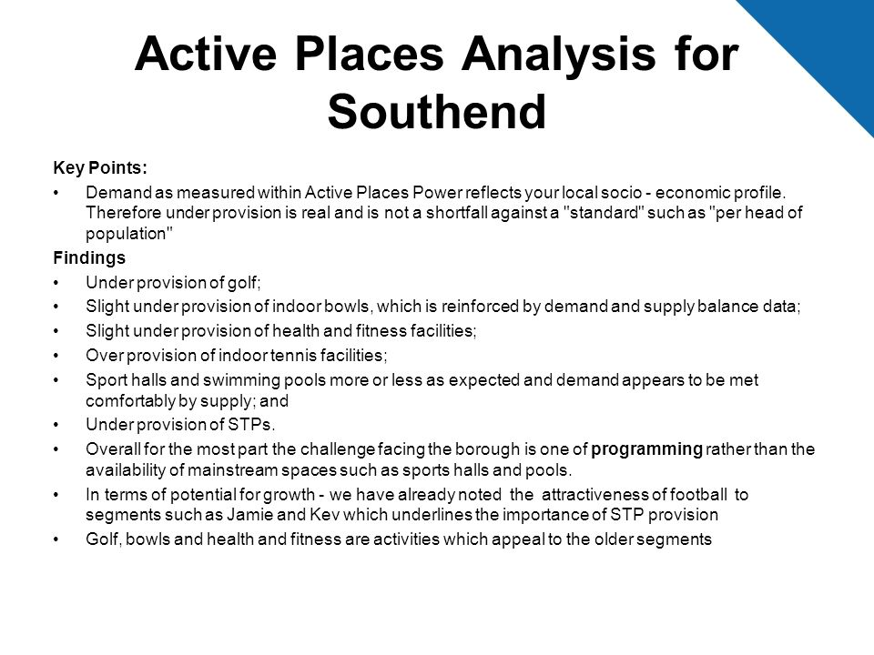 Active Places Analysis for Southend