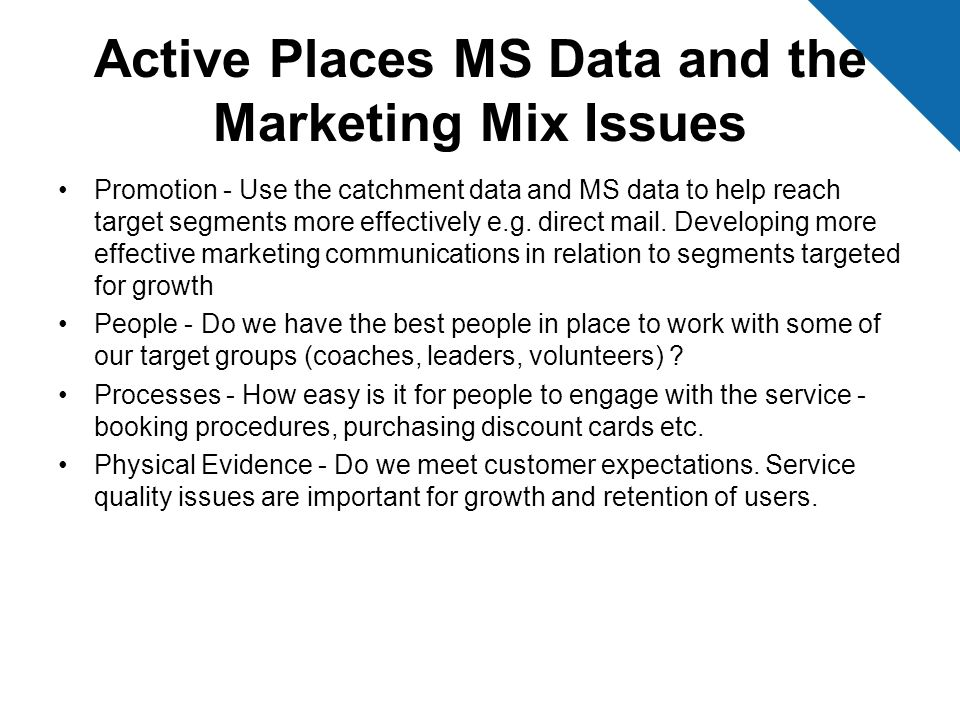 Active Places MS Data and the Marketing Mix Issues