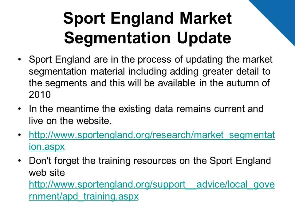 Sport England Market Segmentation Update