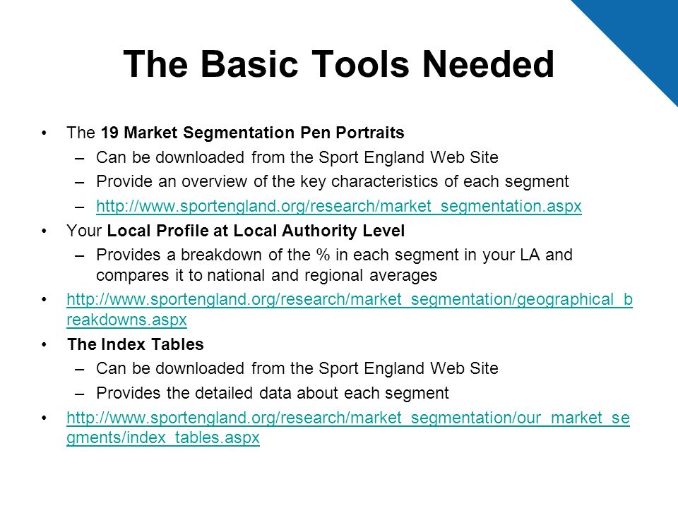 The Basic Tools Needed The 19 Market Segmentation Pen Portraits