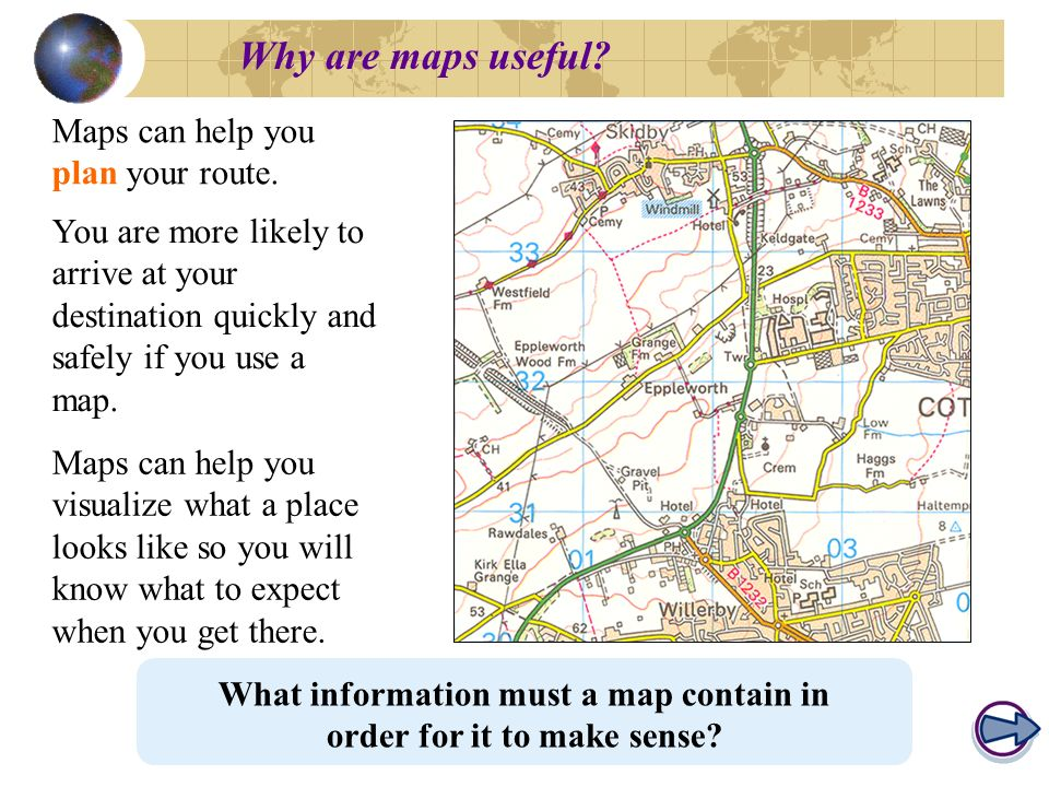 What information must a map contain in order for it to make sense