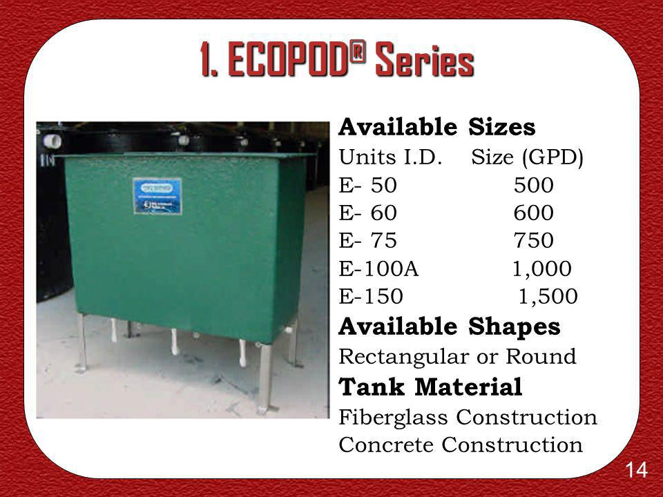 1. ECOPOD® Series Available Sizes Available Shapes Tank Material
