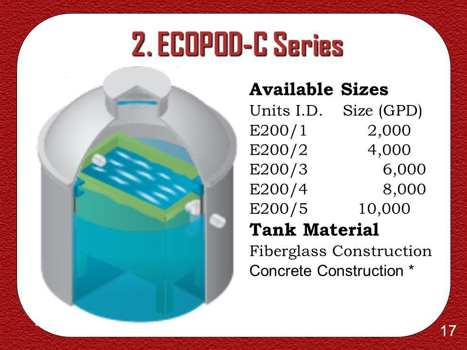 2. ECOPOD-C Series Available Sizes Tank Material Units I.D. Size (GPD)