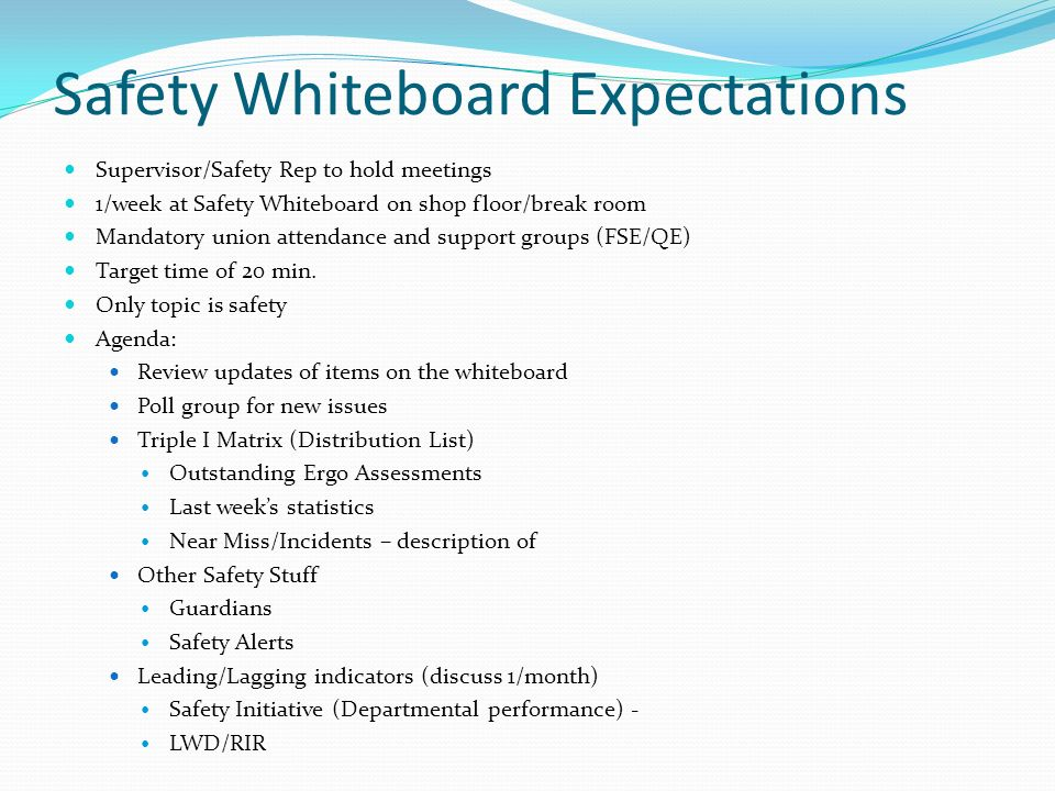 Safety Whiteboard Expectations
