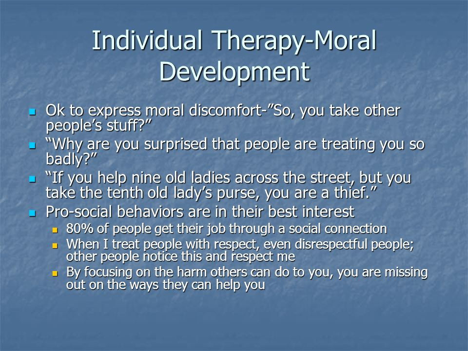 Individual Therapy-Moral Development