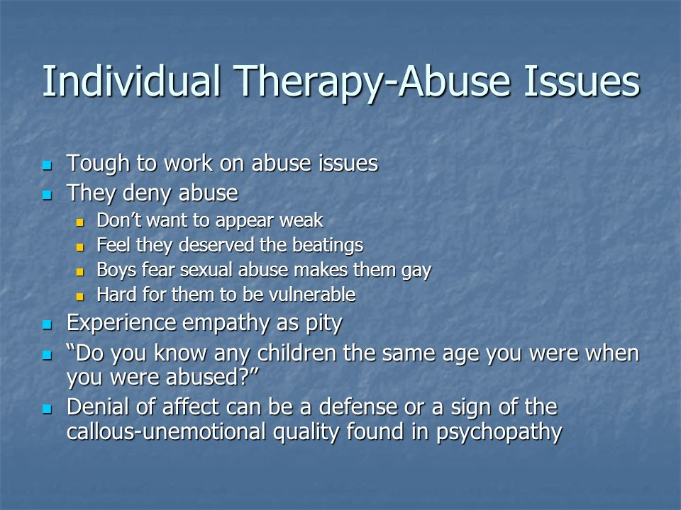 Individual Therapy-Abuse Issues