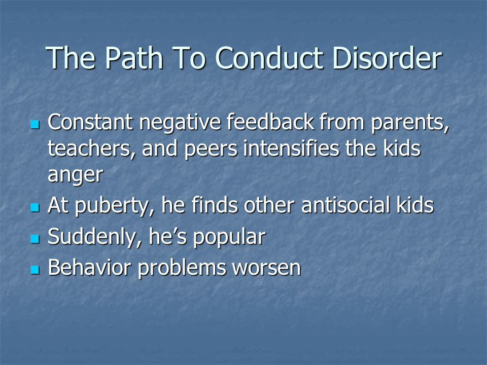 The Path To Conduct Disorder
