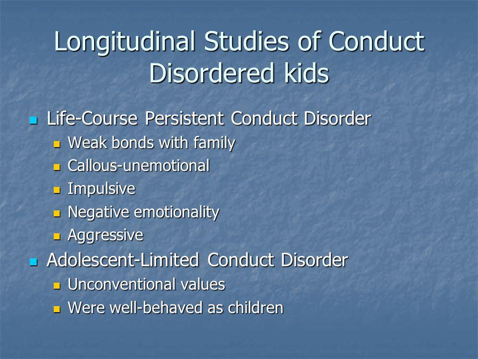 Longitudinal Studies of Conduct Disordered kids