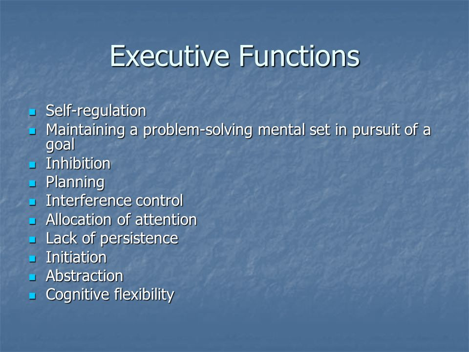 Executive Functions Self-regulation
