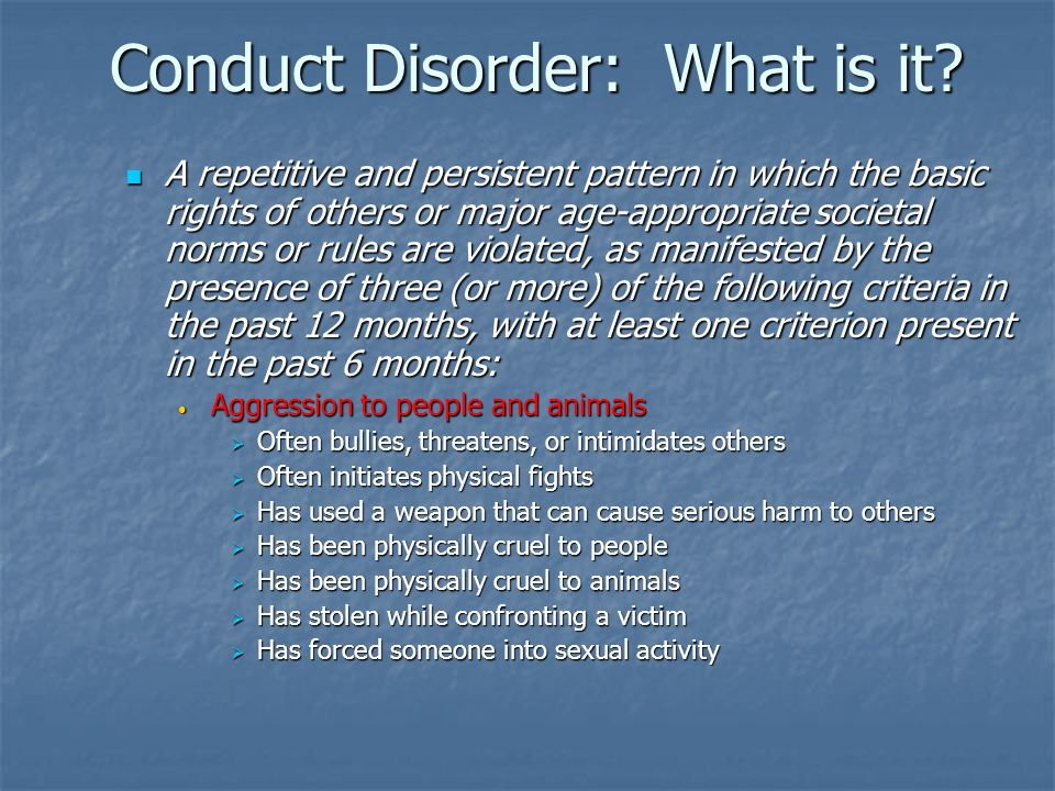 Conduct Disorder: What is it