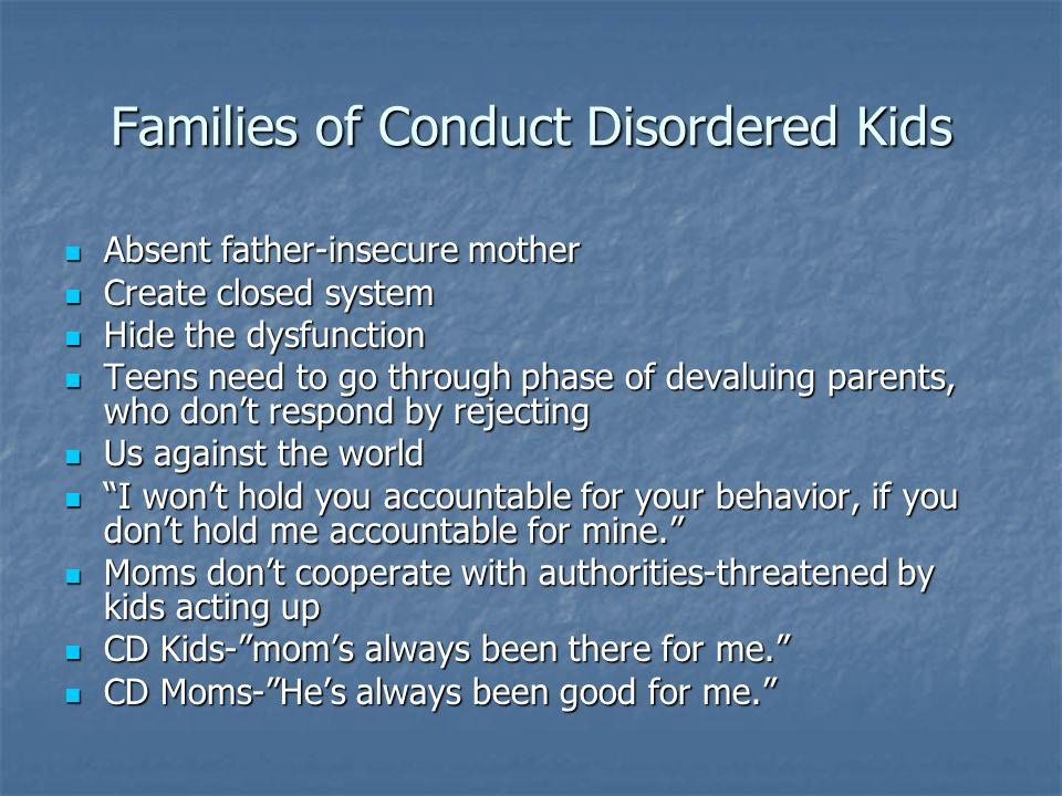 Families of Conduct Disordered Kids