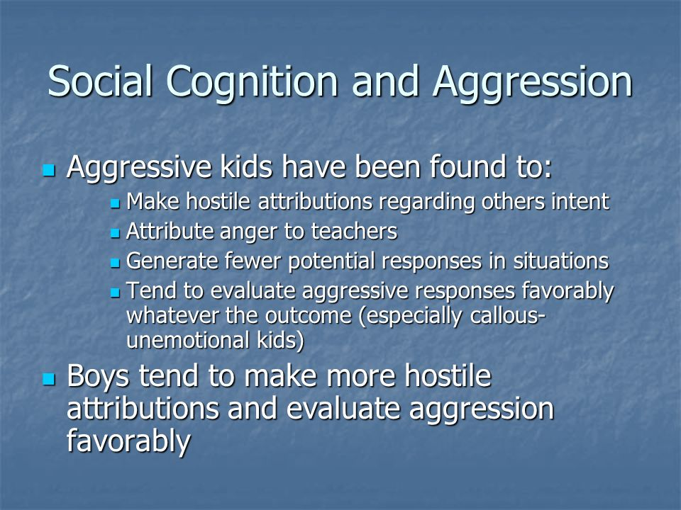 Social Cognition and Aggression