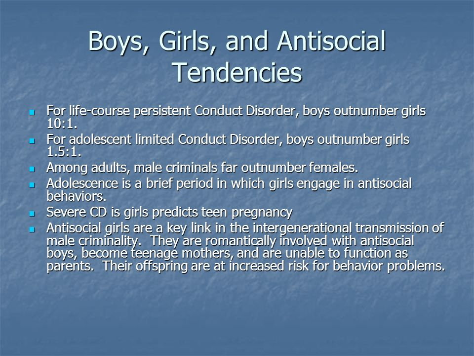 Boys, Girls, and Antisocial Tendencies