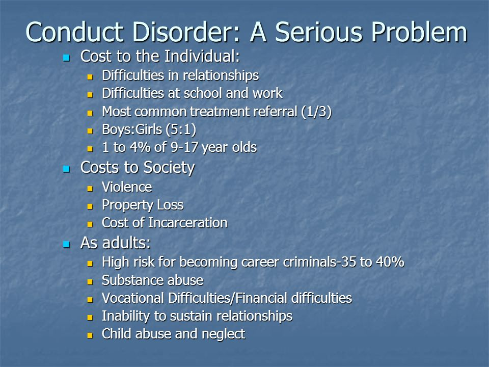Conduct Disorder: A Serious Problem