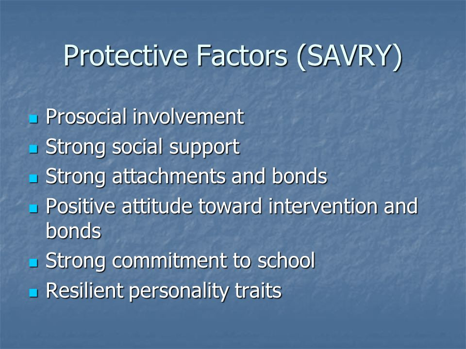 Protective Factors (SAVRY)