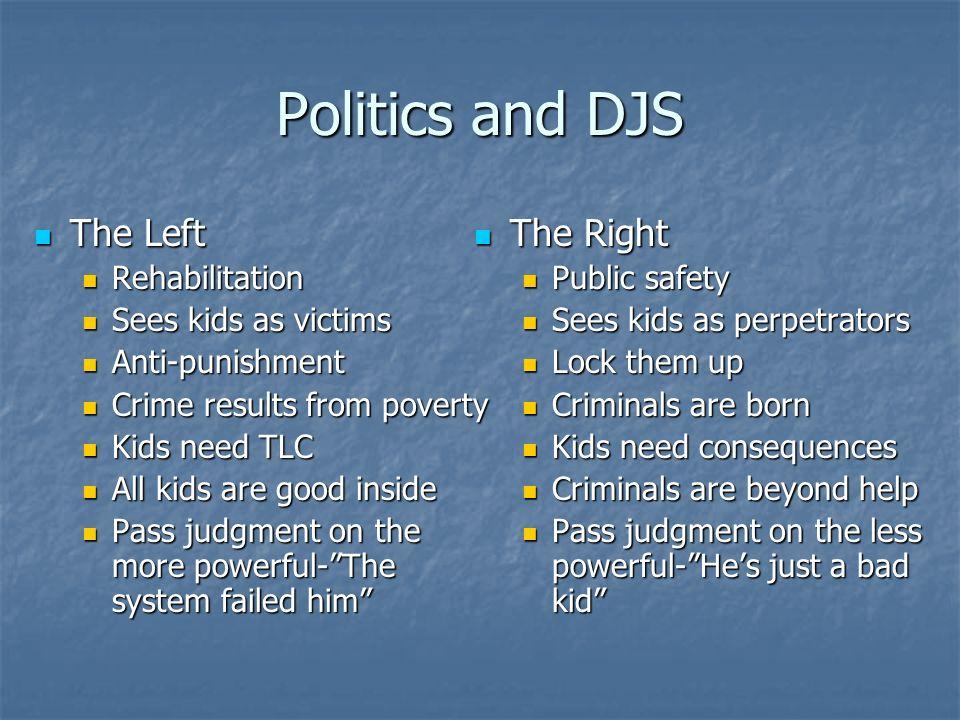 Politics and DJS The Left The Right Rehabilitation