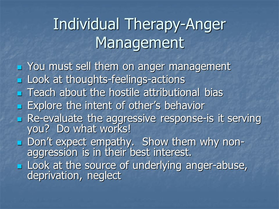 Individual Therapy-Anger Management