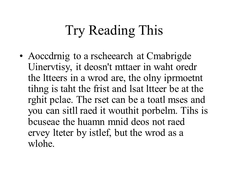 Try Reading This