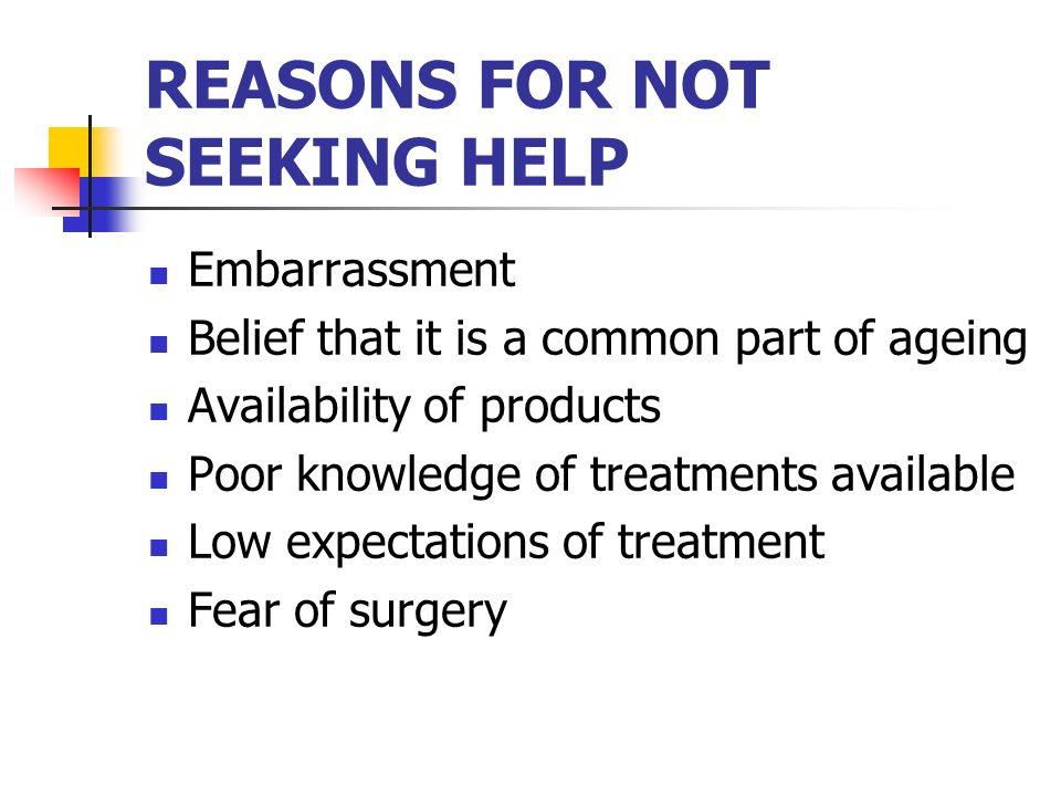 REASONS FOR NOT SEEKING HELP