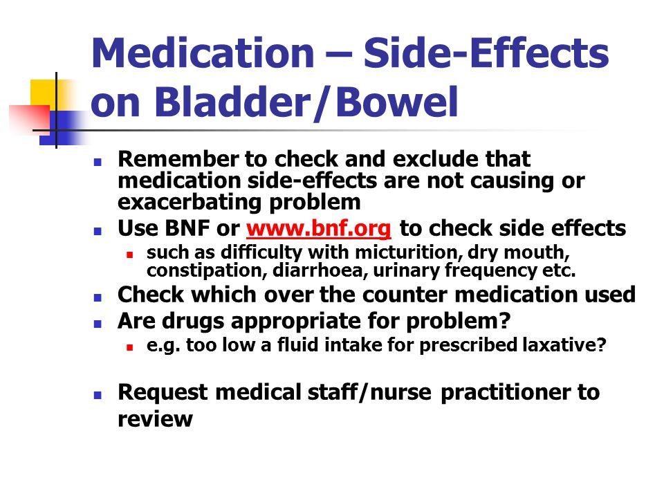 Medication – Side-Effects on Bladder/Bowel