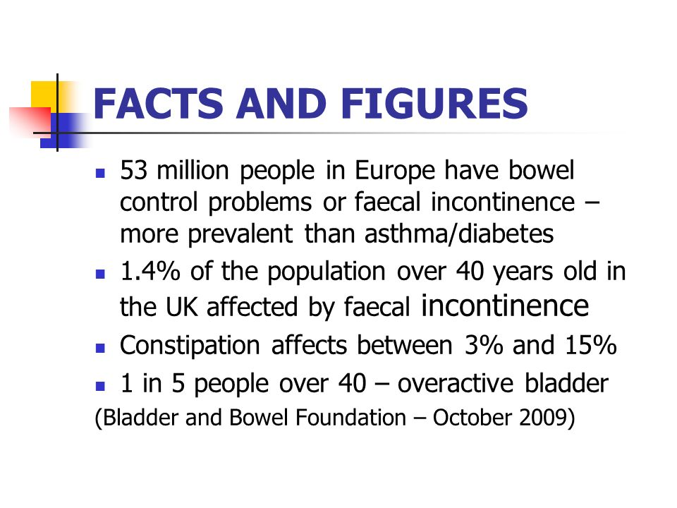 FACTS AND FIGURES 53 million people in Europe have bowel control problems or faecal incontinence – more prevalent than asthma/diabetes.