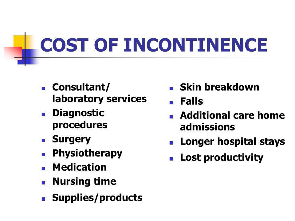 COST OF INCONTINENCE Consultant/ laboratory services