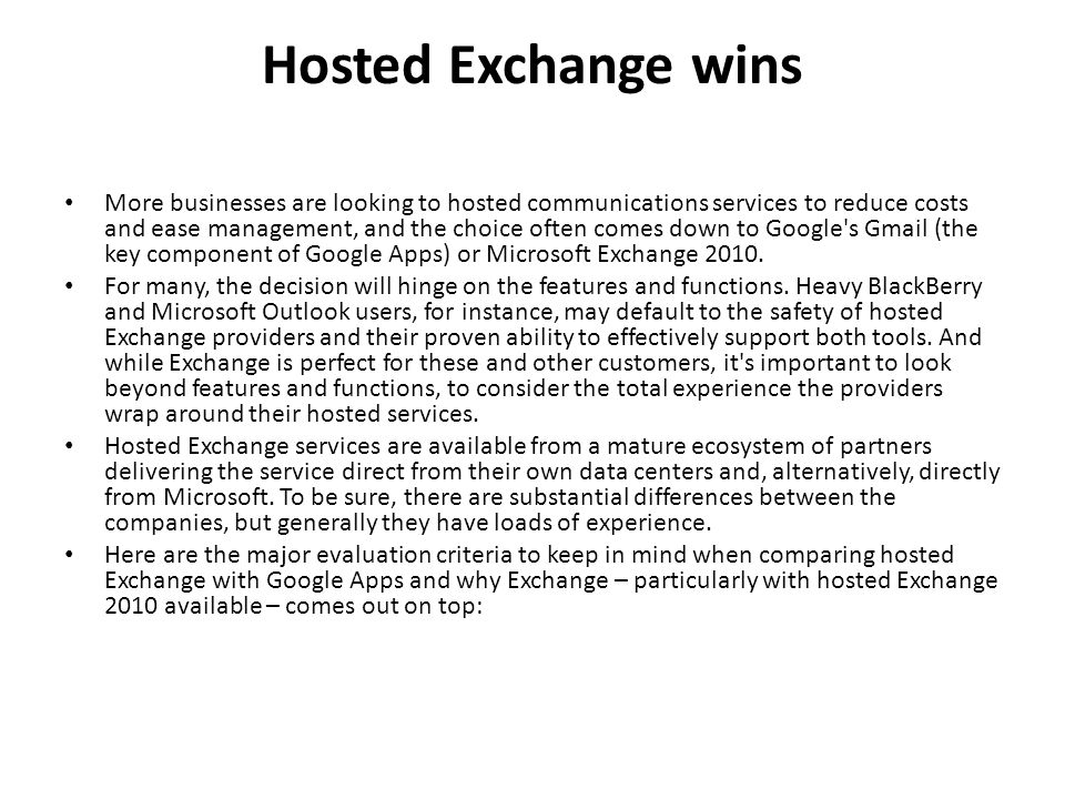 Hosted Exchange wins