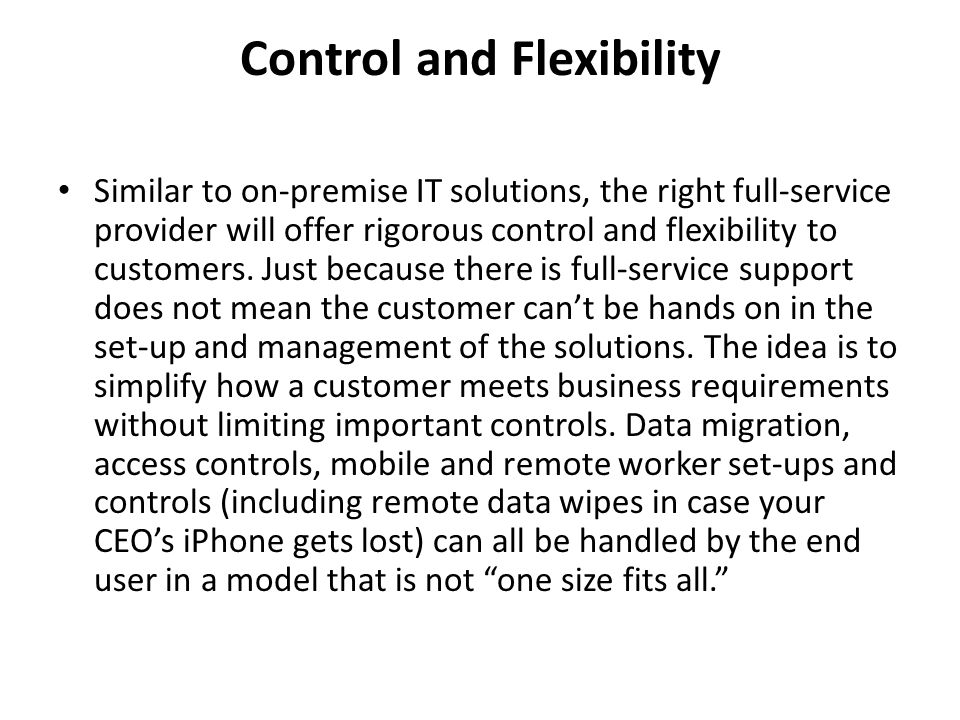 Control and Flexibility