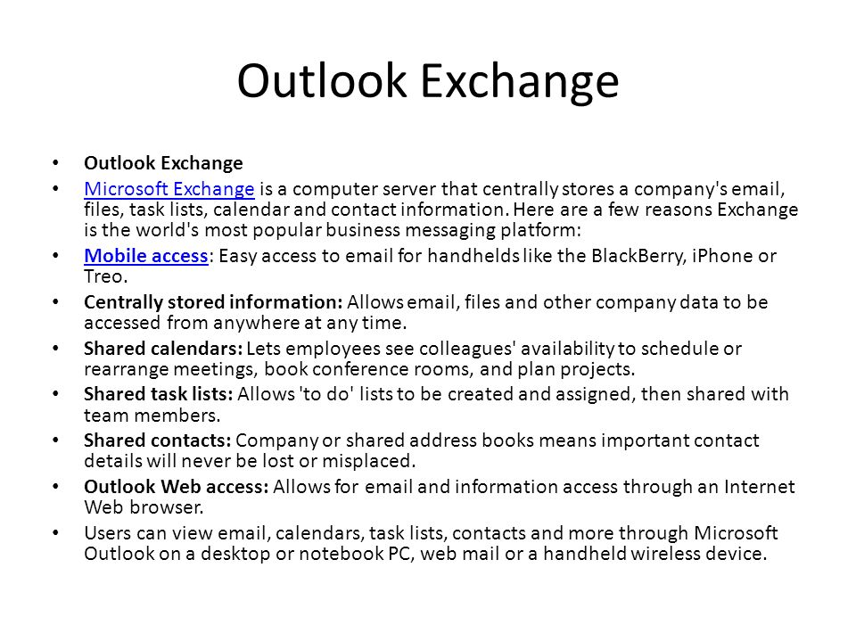Outlook Exchange Outlook Exchange