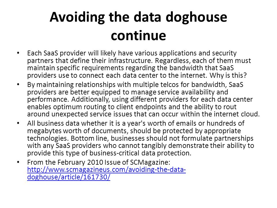 Avoiding the data doghouse continue