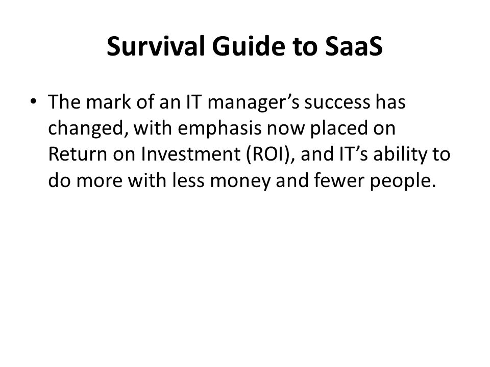 Survival Guide to SaaS