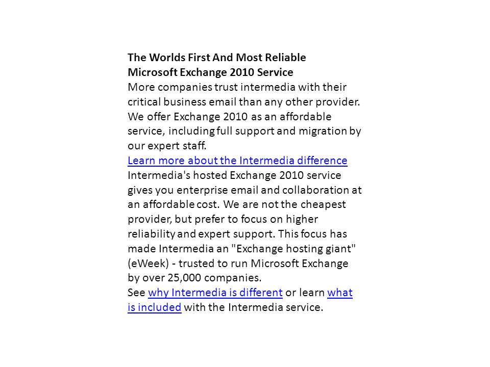 The Worlds First And Most Reliable Microsoft Exchange 2010 Service