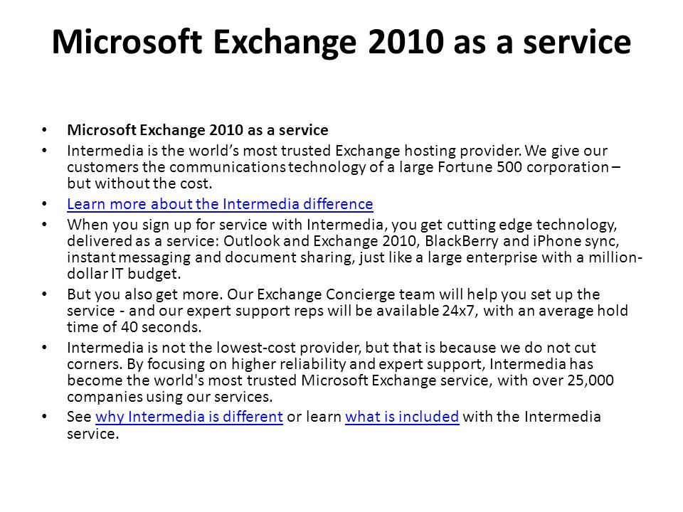 Microsoft Exchange 2010 as a service