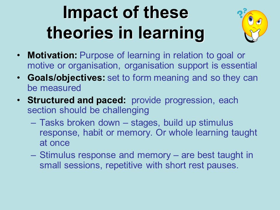 Impact of these theories in learning