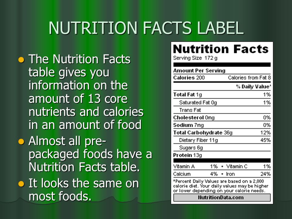 NUTRITION FACTS LABEL The Nutrition Facts table gives you information on the amount of 13 core nutrients and calories in an amount of food.