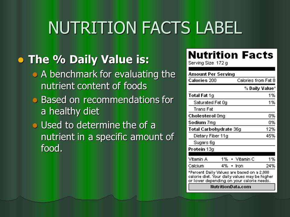 NUTRITION FACTS LABEL The % Daily Value is: