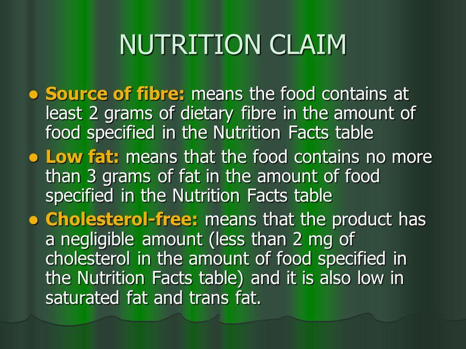 NUTRITION CLAIM