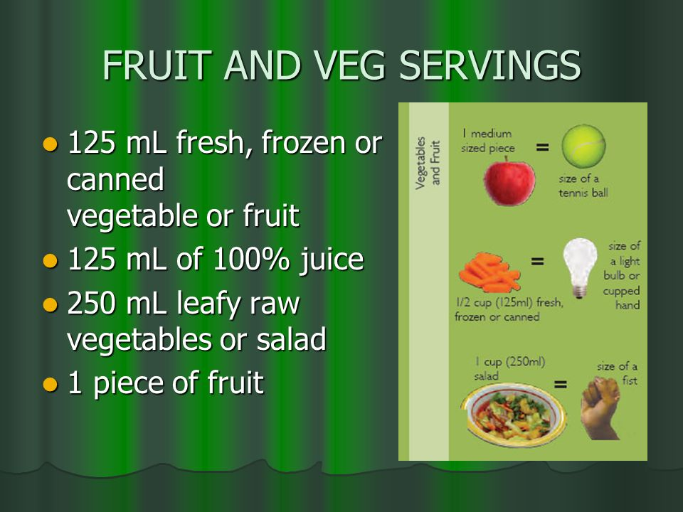 FRUIT AND VEG SERVINGS 125 mL fresh, frozen or canned vegetable or fruit. 125 mL of 100% juice. 250 mL leafy raw vegetables or salad.