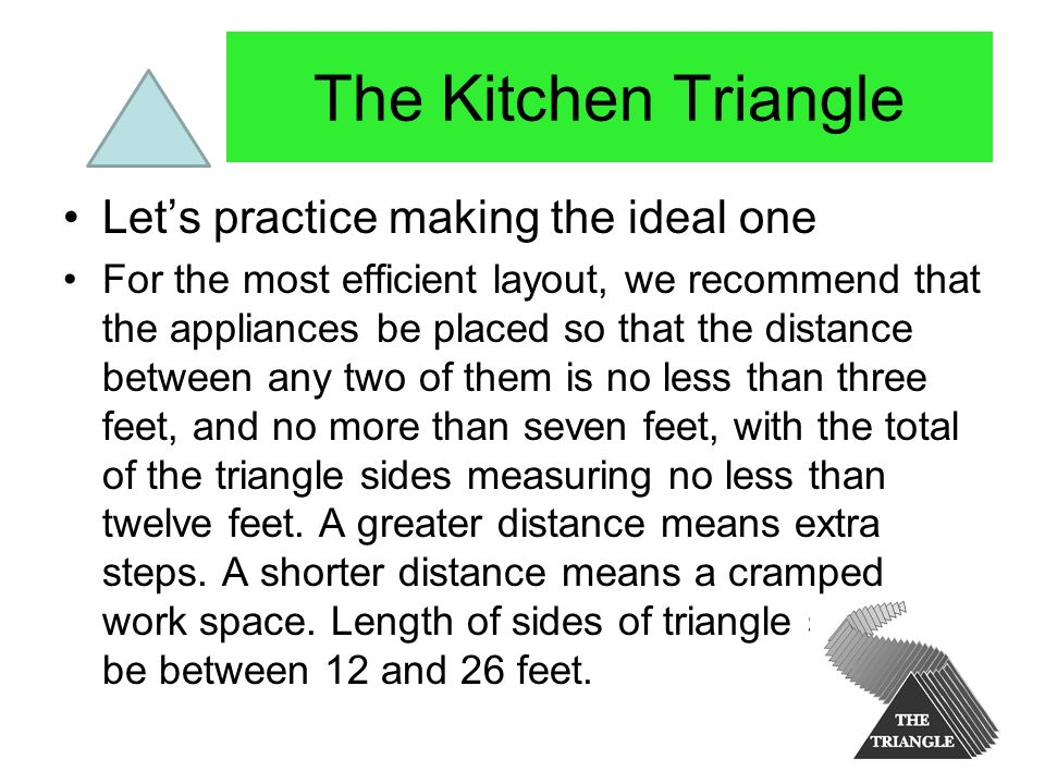 The Kitchen Triangle Let's practice making the ideal one