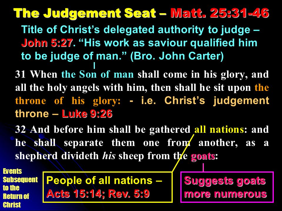 The Judgement Seat – Matt. 25:31-46