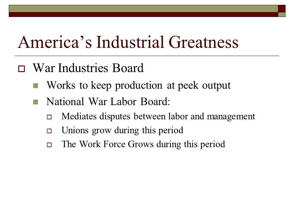 America's Industrial Greatness